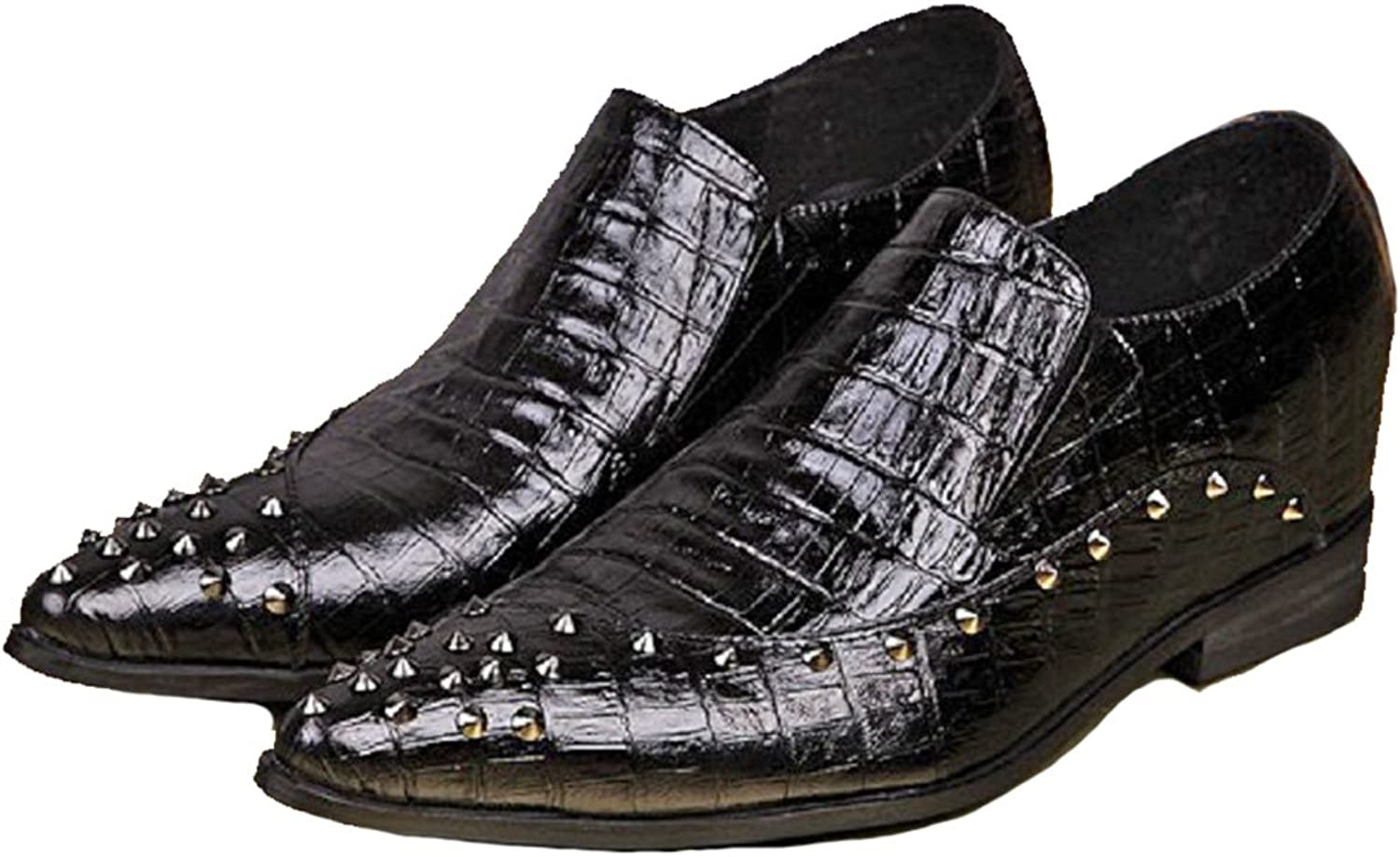 Cover Plus Size 5-12 New Studded Black Alligator Print Genuine Leather Dress Loafers Mens shoes