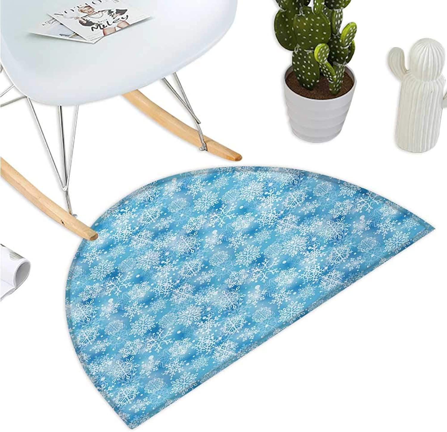 Snowflake Semicircle Doormat Pattern of Winter Motifs Cold Weather Illustration with Abstract Circles Entry Door Mat H 51.1  xD 76.7  Pale bluee White