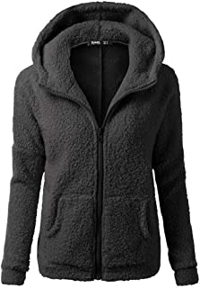 JESPER Women Sherpa Sweater Coat Winter Warm Wool Zipper Coat Cotton with Pocket Hooded