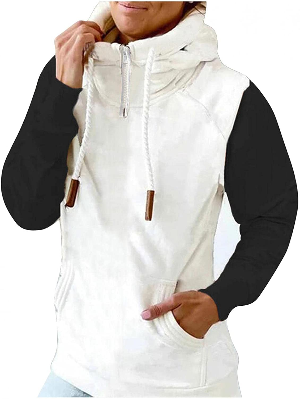 COMVALUE Womens Hoodies,Women Casual Zipper Color Block Long Sleeve Lightweight Pullover Sweatshirts