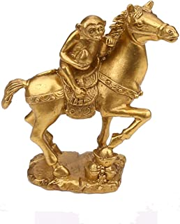 Yaoyijun Chinese Feng Shui Brass Horse Monkey and Set Statue The Golden Color Monkey Riding on Horse and mmediate Promotion:Monkey Riding on Horse (Monkey Riding on Horse)