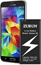 Galaxy S5 Battery ZURUN 3300mAh Li-ion Battery Replacement for Samsung Galaxy S5, Verizon G900V, Sprint G900P, T-Mobile G900T, AT&T G900A, G900F, G900H, G900R4, I9600 [2 Year Warranty]