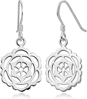 SUVANI 925 Sterling Silver Open Filigree Yantra Mandala Yoga Dangle Hook Earrings 1.22""