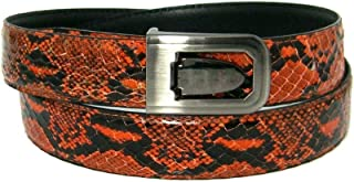 "Men`s Orange 1.25"" Wide Bonded Snakeskin Belt with Stylish Buckle"