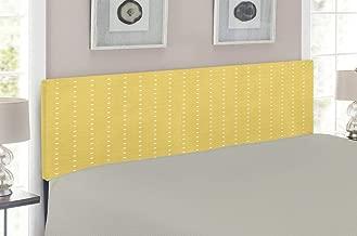 Lunarable Trellis Headboard, Ancestral Quatrefoil Pattern Lattice Motifs Oriental Art Design Moroccan, Upholstered Decorative Metal Headboard with Memory Foam, for Queen Size Bed, Mustard White