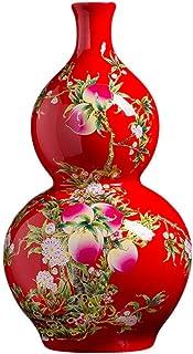 Florero Jarrón Jarrón de cerámica Chino Rojo Fushou melocotón Piso de Calabaza Gran Sala de Estar decoración Escultura Jar...