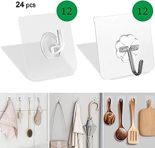 Laigoo 24 Pack Adhesive Wall Hooks Clear + Stainless Steel Self Adhesive Hooks Transparent Combo Sticky Towel Hook Wall Ha...