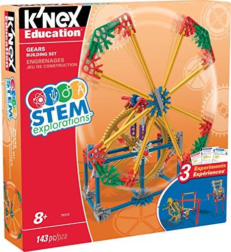 K'NEX 34386 - STEM Explorations Building Set Gears, Baukasten Erkunde Getriebe mit 143 Bauteilen, Bau- und Konstruktionsspielzeug Set für 3 Modelle mit Zahnradgetriebe, Bauset für Kinder ab 3+ Jahre