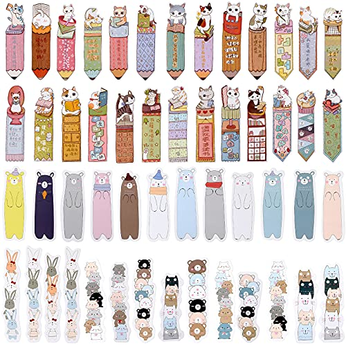 60 Pieces Cute Animal Paper Bookmarks Cartoon Cat Anime Reading Marker Bear Rabbit Theme Page Marks Writable Animal Bookmark Funny Stationery Bookmarks for Kids Girls Students Adult
