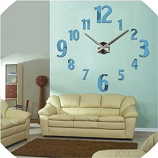 Design Large 3D Wall Clock Acrylic Mirror Quartz Watch Clocks Home Decoration Single Face Living Room Stickers,Sky Blue,37Inch