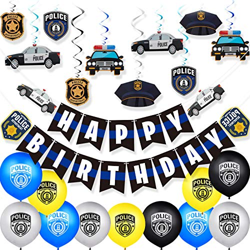 32 Pieces Police Theme Party Decorations Set Police Party Swirls Set Including 20 Police Party Latex Balloons 2 Police Banners 10 Police Hanging Swirls for Police Themed Birthday Party