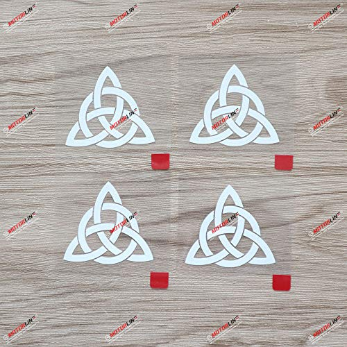 4X White 2'' Celtic Trinity Knot Symbol Decal Sticker Car Computer Phone Window Vinyl
