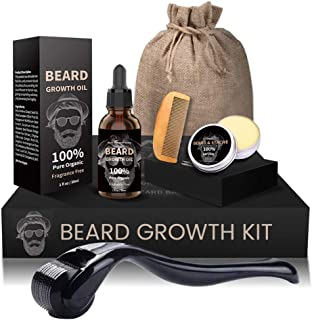 Beard Growth Kit, Derma Roller + Beard Growth Oil Serum + Beard Balm + Brush Comb for Men, Facial Hair Growth Kit, Titaniu...