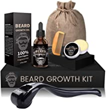 Beard Growth Kit, Derma Roller + Beard Growth Oil Serum + Beard Balm + Brush Comb for Men, Facial Hair Growth Kit, Titanium Microneedle Beard Roller Kit, Best Value Beard Care Kit for Men