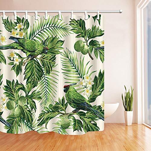 123456789 Tropische Plant Papegaai in Palm Tree Badkamer Douche Gordijn Stof/12 Haken 71