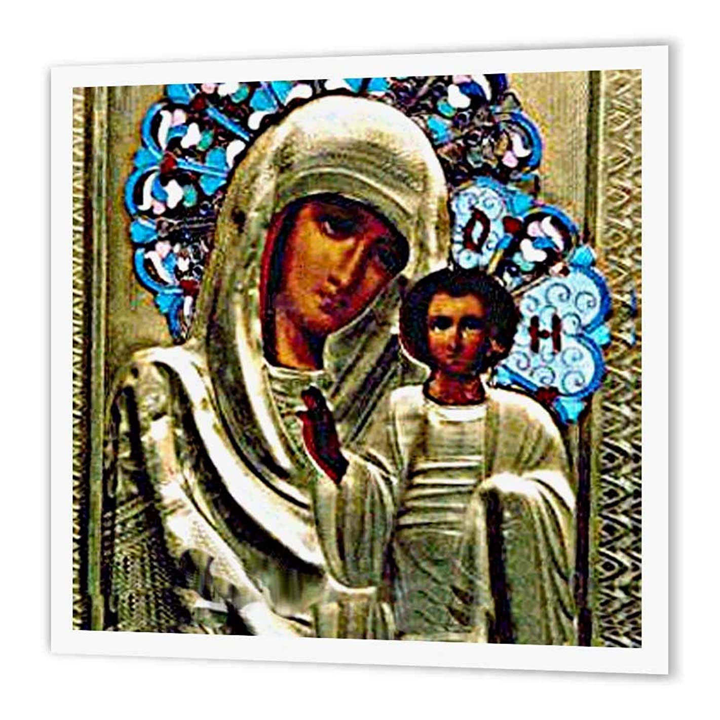 3dRose ht_525_3 Russian Icon of The Blessed Mary Iron on Heat Transfer Paper for White Material, 10 by 10
