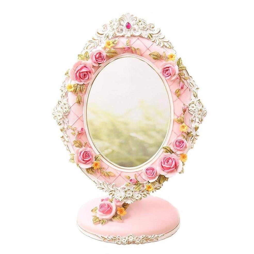 概要事標高Selm 化粧のためのデスクトップミラー、自然光72度回転自立化粧台ベッドルームに適し、バラの彫刻
