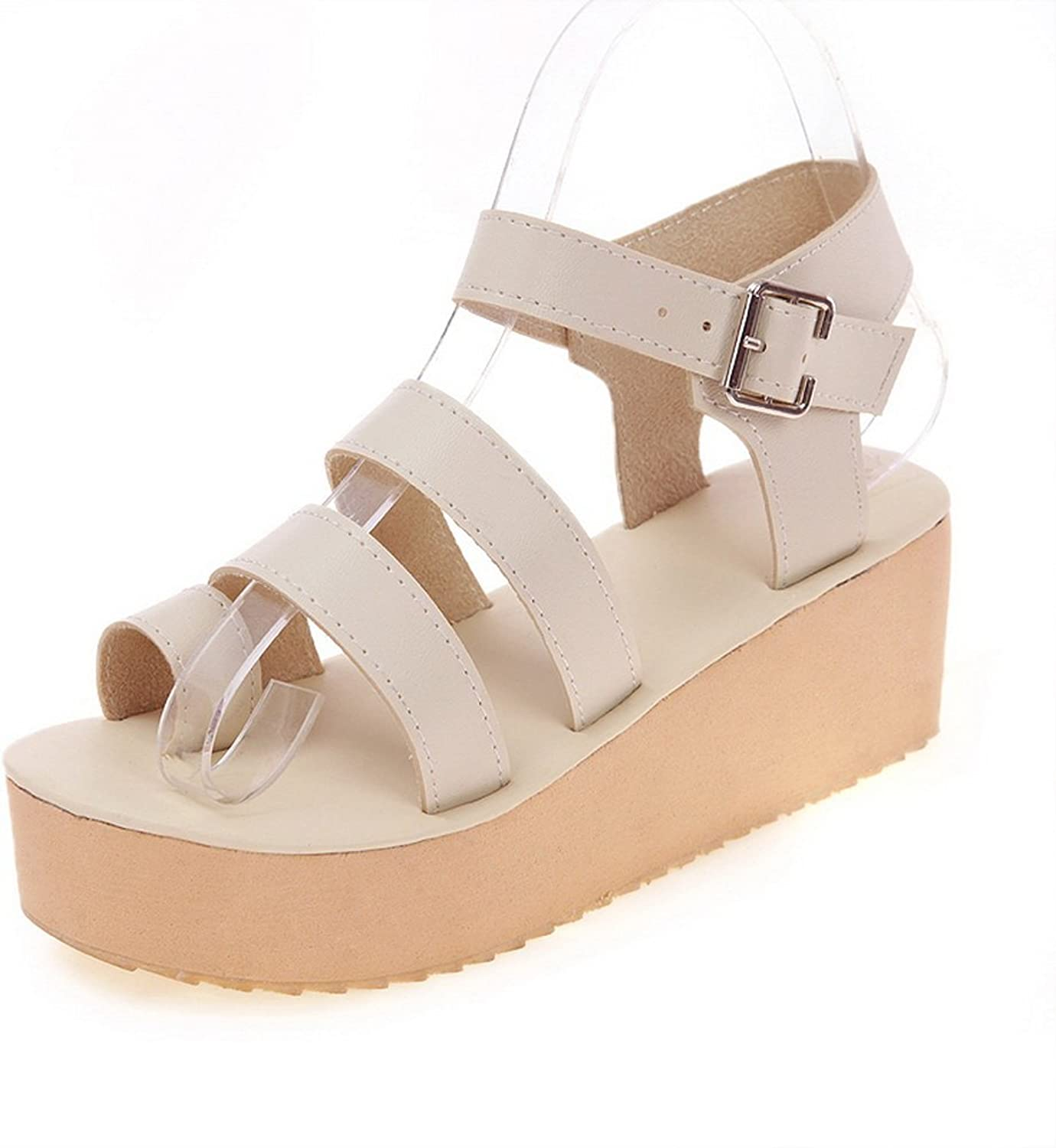 AdeeSu Womens Platforms-Sandals Platform Buckle Ankle-Wrap Mid-Heel Cold Lining Smooth Leather Special-Occasion Platform Urethane Platforms Sandals SLC03543