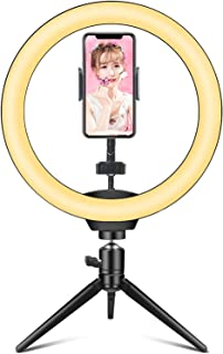 """Ring Light Hieha 10"""" LED Ring Light with Tripod Stand & Flexible Phone Holder, Dimmable 3 Light Modes &10 Brightness Level..."""
