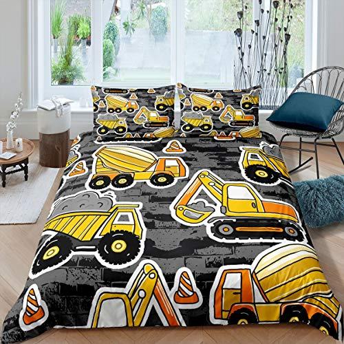 Loussiesd Juego de ropa de cama para niños y jóvenes, 135 x 200 cm, diseño de excavadora, color gris oscuro y amarillo, con 1 funda de almohada con cremallera