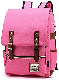 Unisex Professional Slim Business Laptop Backpack, Feskin Fashion Casual Durable Travel Rucksack Daypack (Waterproof Dustproof) with Tear Resistant Design for Macbook, Tablet - Rose Pink