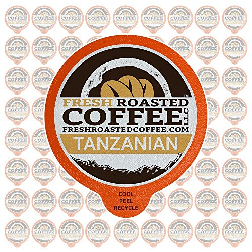 Fresh Roasted Coffee LLC, Tanzanian Peaberry Coffee Pods, Light Roast, Single Origin, Capsules Compatible with 1.0 & 2.0 Single-Serve Brewers, 72 Count