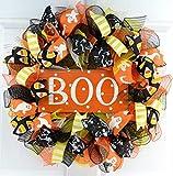Candy Corn Halloween Door Wreaths | Orange Boo Mesh Wreath; Black White Yellow