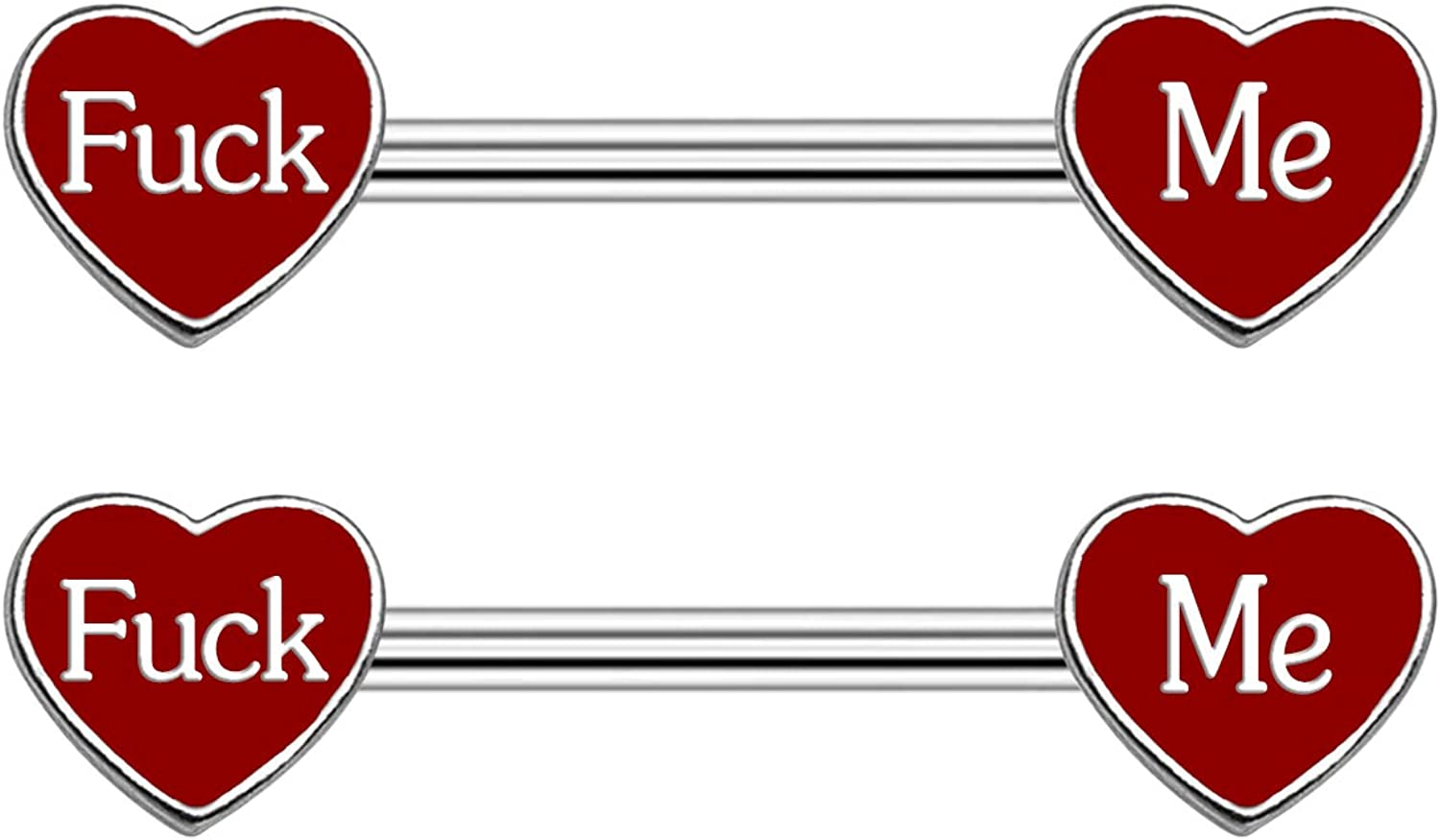 CHARMM Nipple Ring Piercing Enamel Red Heart Carved with Fuck Me 14 Gauge Surgical Stainless Steel Barbell Nipple Rings for Women Men (Fuck ME)