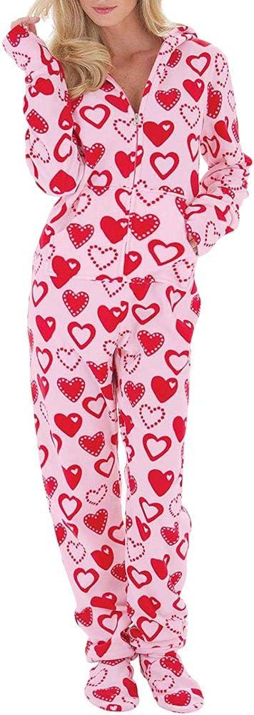 Ketamyy Mujer Pijama Mono Entero con Capucha Pies Casual Cremallera Polar Jumpsuit Adulto Una Pieza Primavera Invierno Otoño Cómodo Termica Loungewear ...