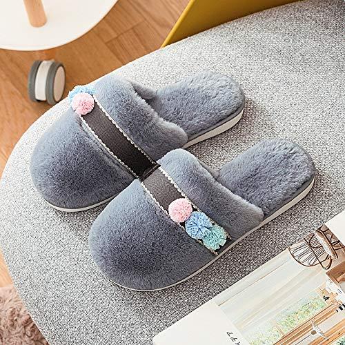 Zapatillas de algodón Fuzzy Mujer Zapatillas cálidas de Invierno Espuma viscoelástica Felpa acogedora Forro Antideslizante Suelo de algodón Interior Exterior Peludo Decoración Encantadora