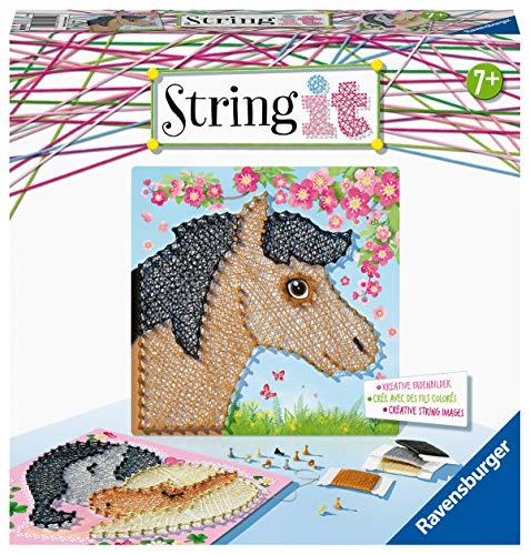 Ravensburger Creation 18119 String it Midi Horses – Kreative Fadenbilder mit süßen Pferden kinderleicht aus Kunststoffpins und bunten Faden, White