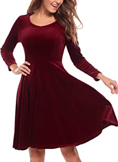 BURLADY Women's Dress Long Sleeve Party Dress A Line Flared re Dress Knee Length Swing Dress