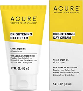 ACURE Brightening Day Cream | 100% Vegan | For A Brighter Appearance | Cica & Argan Oil - Moisturizes, Fights Dullness & Improves Skin's Appearance | All Skin Types | 1.7 Fl Oz