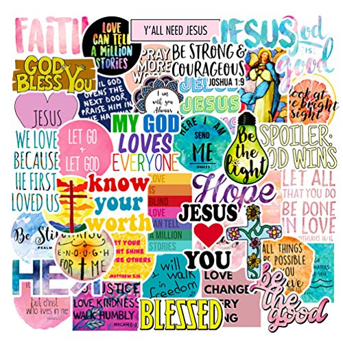 Jesus Christian Saying Words Stickers for Kids Adults Cars Water Bottles Laptop Guitars Graffiti Decals 50pcs
