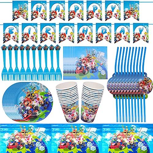 Babioms Super Mario Party Supplies Vajilla,62pcs Suministros De Fiesta Cumpleaños,Platos,Tazas,Servilletas,Pajillas,Tenedores,Mantel,Banners