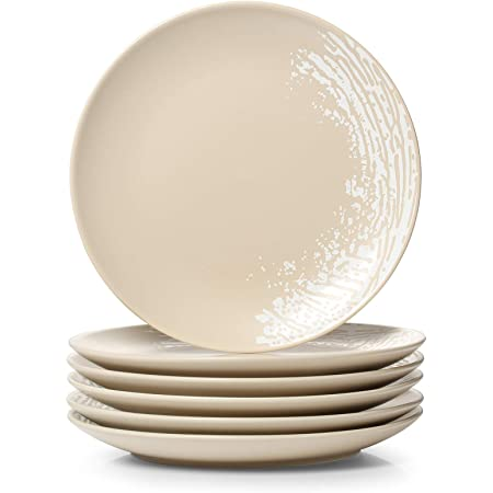 Le Tauci Salad Plate 8 Inch Ceramic Plate Set Of 6 For Appetizer Dessert Bread Snacks 10 Ounce Grey Salad Plates