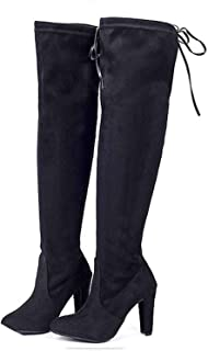 Women Fashion Suede Over The Knee Boots Lace Up Sexy Woman Slim Thigh High Boots 35-43