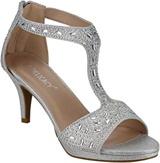 Link Forever Excited-95 Women's Glitter Rhinestone T-Strap Back Zipper Wrapped Heel Sandals