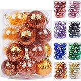 Babigo 60 mm/2.36 pulgadas bolas de Navidad decorativas de plástico transparente bolas de Navidad Set con decoraciones delicadas rellenas (20 unidades, naranja)