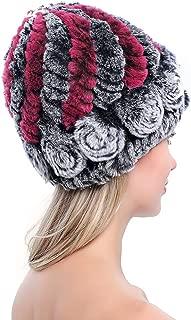 Women's Genuine Rex Rabbit Fur Hats Flower Real Fur Knitted Beanies Winter Warm Skullies Caps Multicolored