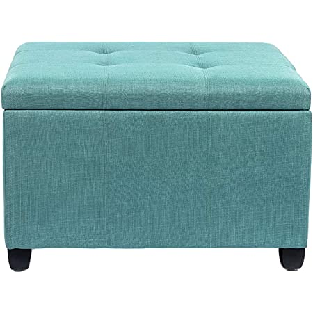 Joveco Ottoman 28 9 Tufted Storage Bench For Living Room Bedroom Toy Chests Storage Room Organizer Teal Furniture Decor