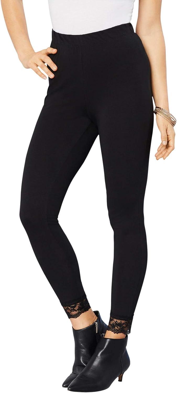 Roamans Women's Plus Size Lace-Trim Essential Stretch Legging Activewear Workout Yoga Pants
