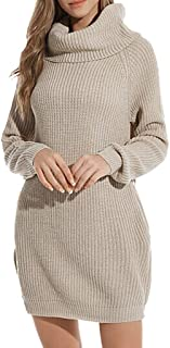 YANYUN 2XL 2019 Sweater Dress for Women Winter Warm Fashion Chunky Cable Knit Casual Long Sleeve Pullover Jumper Max Dresses