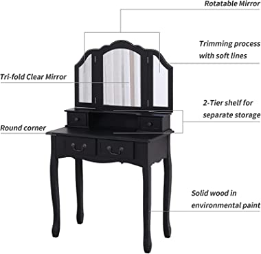 Dressing Table with Stool, Household Solid Wood Dressing Table Set, with Three-Fold Hanging Mirror and 4 Drawer Dressing Tabl