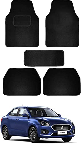 RONISH Fabric Car Floor Foot Mat for Swift Dzire (Black)