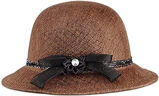 SHENLIJUAN Women's hat Summer New Linen Outdoor Simple Fashion Sun hat Sun hat Female hat (Color : Coffee, Size : M56-58cm)
