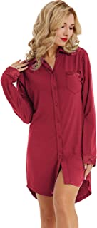 Zexxxy Women Long Sleeve Pajama Top Button Down Lapel Sleep Shirt Dress