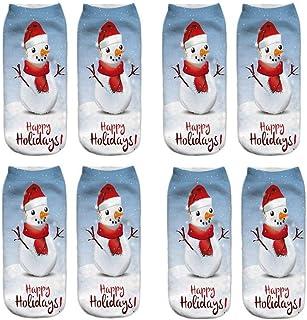 VJGOAL, Mujeres Moda casual Navidad 3D Impreso tejido liso fina impresión Calcetines Lindo tubo corto boca poco profunda baja ayuda calcetines 1 Pairs / 4 Pairs(Un tamaño,Multicolor15)