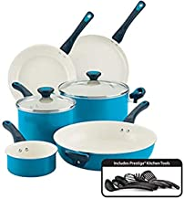 Farberware Go Healthy Nonstick Cookware Pots and Pans Set with QuiltSmart Technology, 14 Piece, Aqua