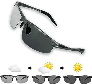 偏光サングラス 変色調光レンズ 超軽量メタ UV400 紫外線カット 運転 野球 ドライブ 自転車 釣り ランニング ゴルフ 男女兼用 JBHOO(昼夜兼用型もある)